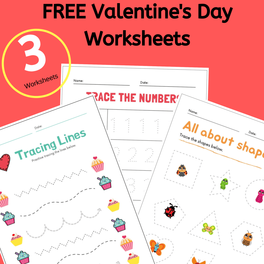 Get 3 Free Printable Valentine Day Worksheets for Preschool