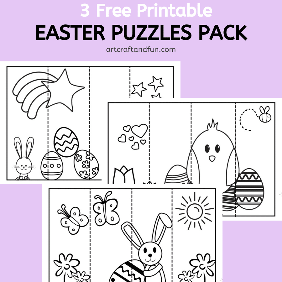 Free Printable Easter Puzzles that kids can color in